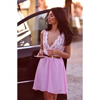 Rochie de ocazie scurta roz pal 2 in 1 cu dantela si voal