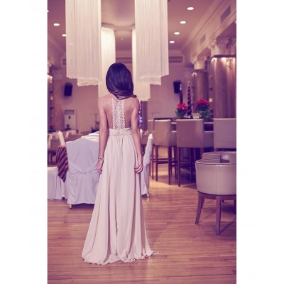 Rochie delicata eleganta lunga din voal nude