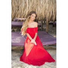 Rochie eleganta cu umerii goi voal rosie