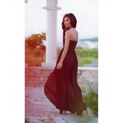 Rochie eleganta lunga din voal lejera cu umerii goi neagra