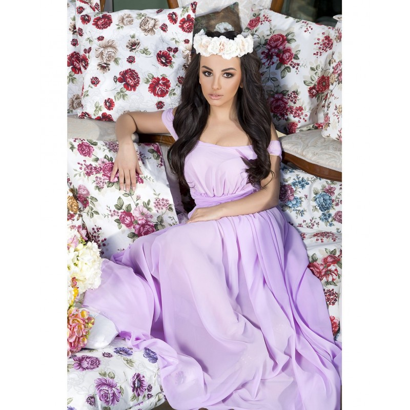 Rochie eleganta lunga din voal lejera mov