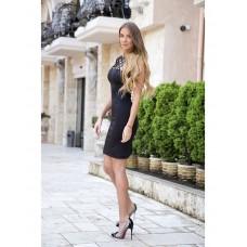 Rochie midi sexy eleganta neagra mulata pe corp