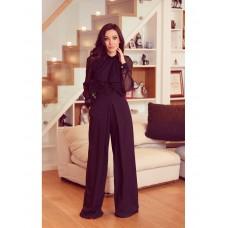 Pantaloni lungi negri evazati cu talie inalta eleganti