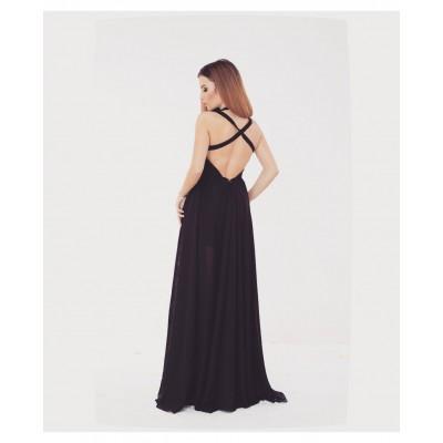 Rochie neagra, lunga, eleganta si sexy