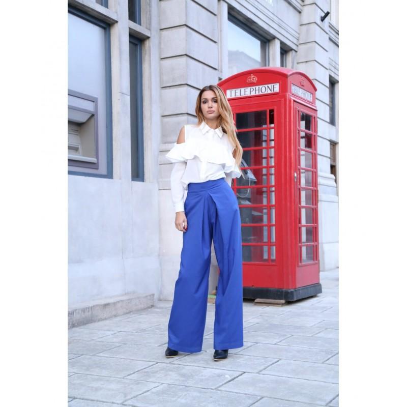 Pantaloni clasici evazati eleganti cu talie inalta albastri