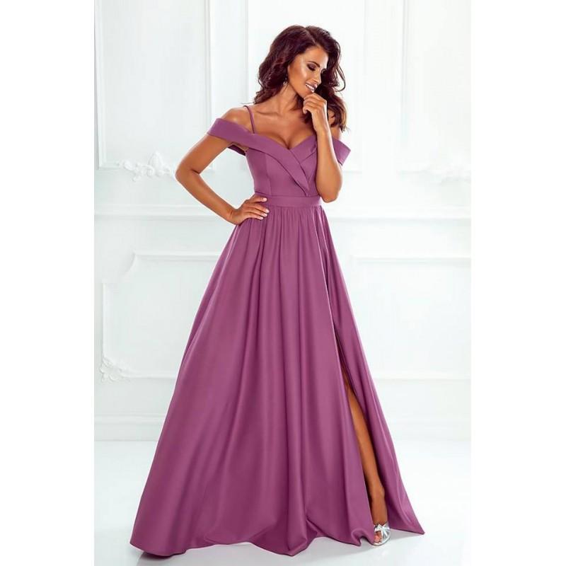 Rochie eleganta lunga cu umeri goi slit pe picior si bretele subtiri violet