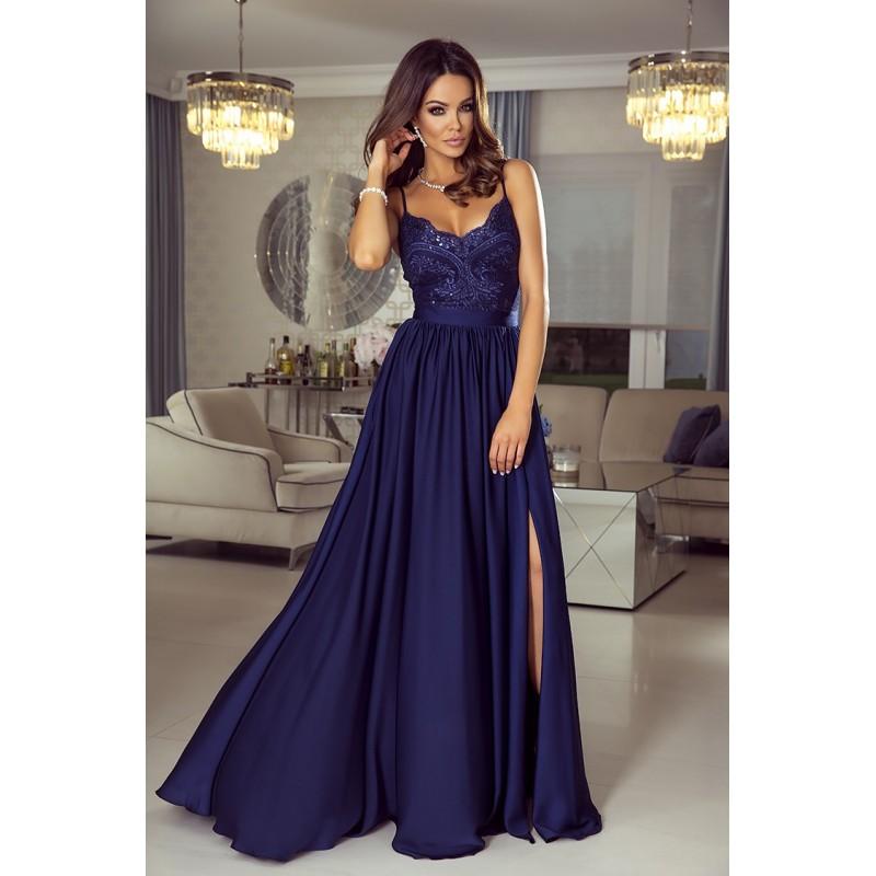 Rochie lunga eleganta cu umeri goi bretele subtiri top dantelat albastra