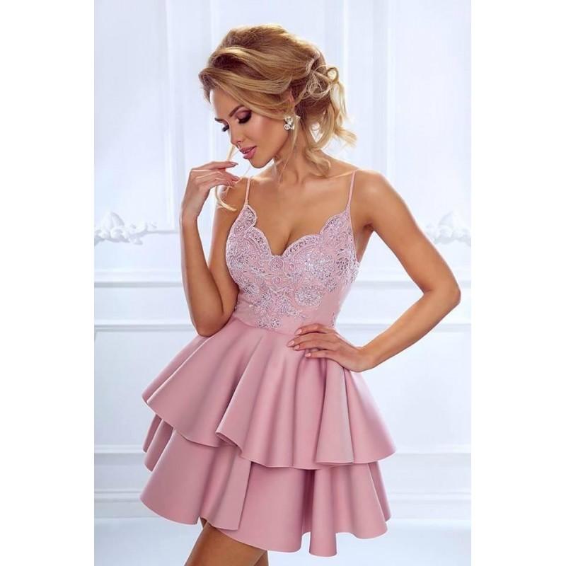 Rochie scurta sexy cu top decoltat si bretele subtiri roz