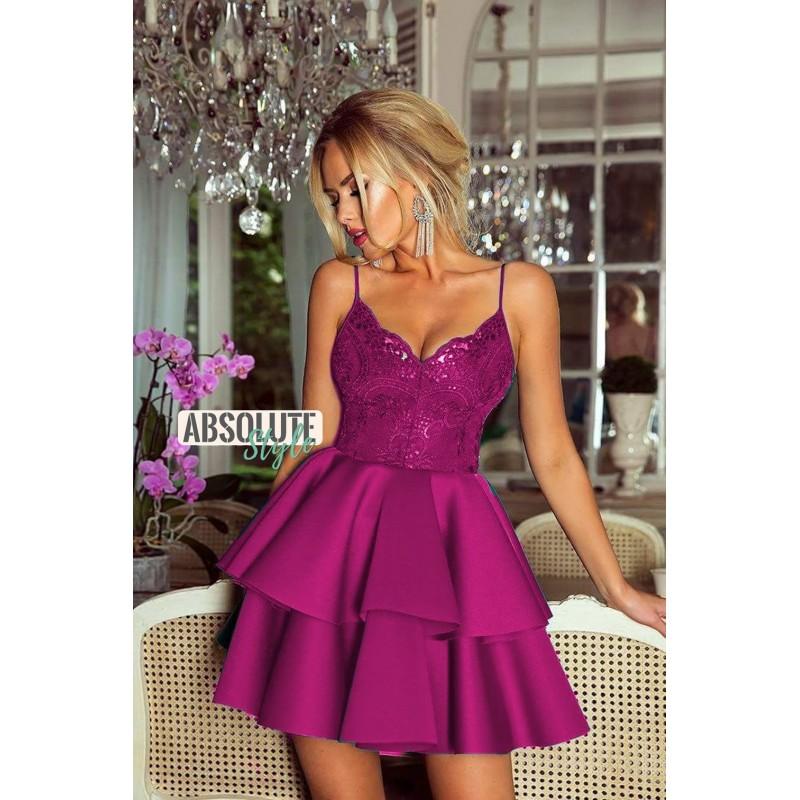 Rochie scurta sexy cu top decoltat si bretele subtiri violet