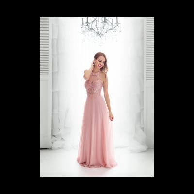 Rochie eleganta clasica roz din voal si dantela cu spatele gol