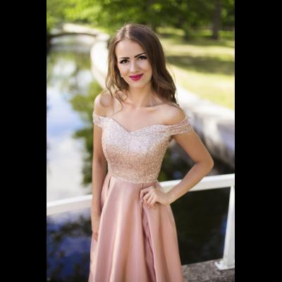 Rochie eleganta clasica roz lunga cu bust din sclipici