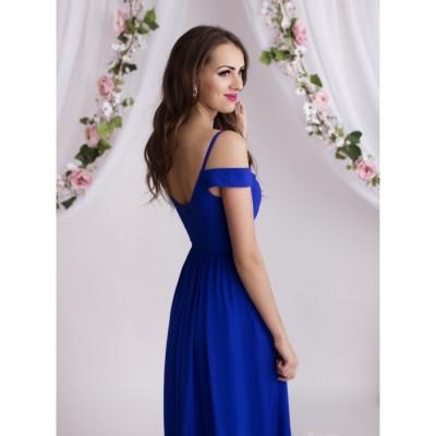 Rochie eleganta lunga cu detalii delicate pe umeri albastru electric