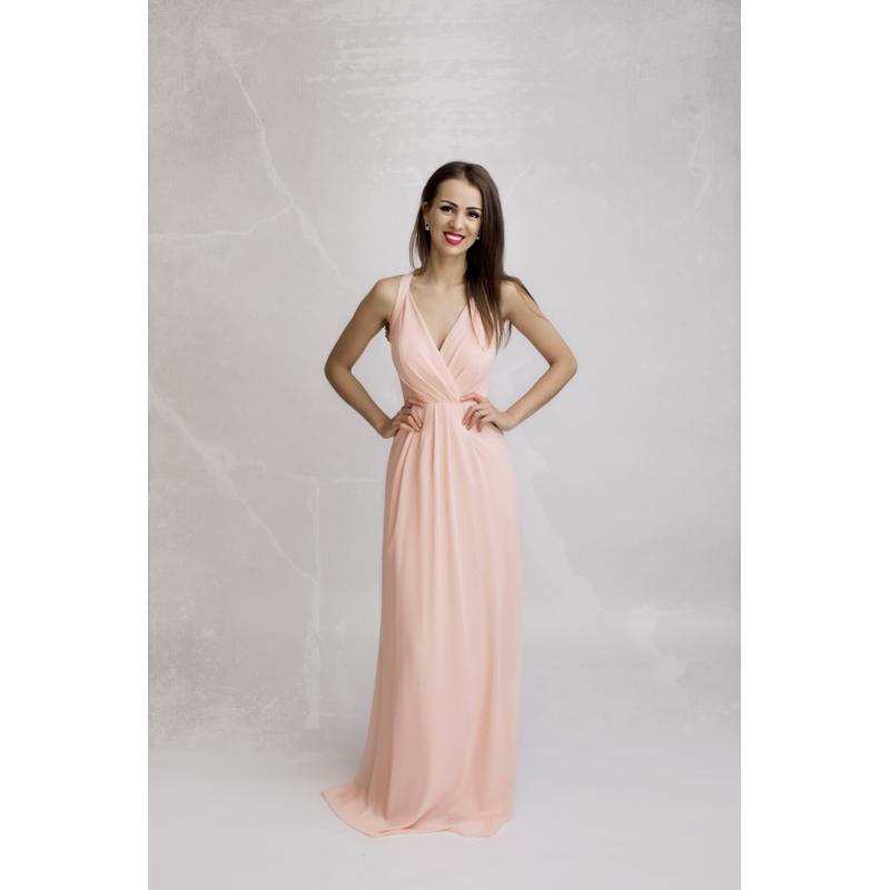 Rochie eleganta lunga roz din voal cu bretele spate