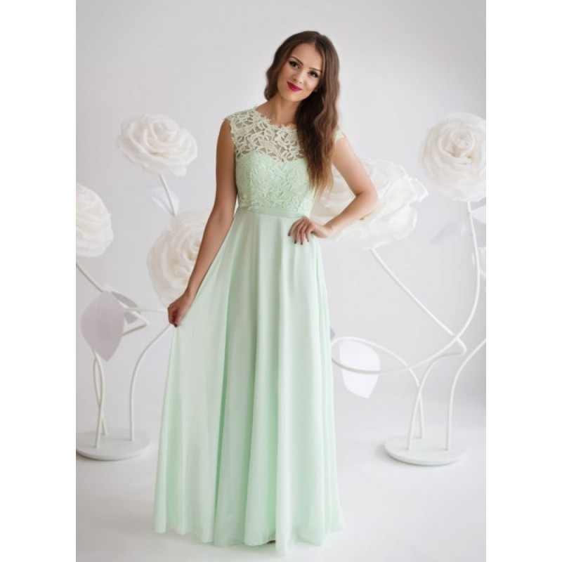 Rochie lunga eleganta cu dantela in nuanta verde deschis mint