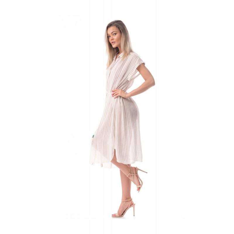 Camasa tip rochie lejera de plaja bej