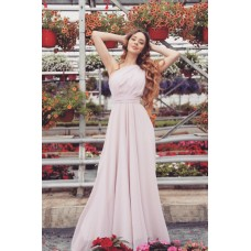 Rochie lunga eleganta lejera sexy pe un singur umar roz